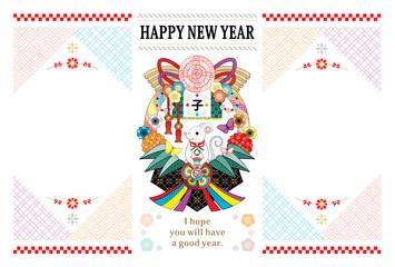 2020年・令和2年・2032年子年イラスト年賀状デザイン「鼠とお洒落注連飾りフレーム2枠」HAPPY NEW YEAR