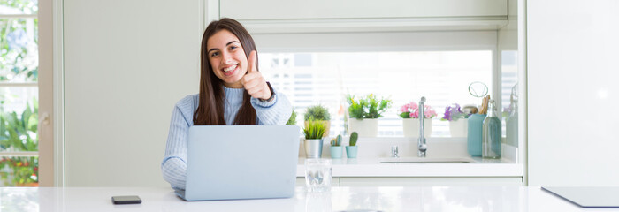 Wide angle picture of beautiful young woman working or studying using laptop happy with big smile doing ok sign, thumb up with fingers, excellent sign