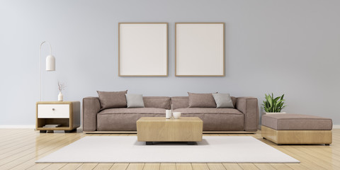 View of living room space with grey sofa set and wood side table on plain wall with blank picture frame.Perspective of minimal Interior design. 3d rendering.