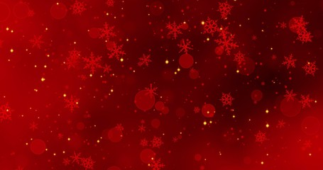 Red snowflakes and bokeh lights on the red Merry Christmas background. 3D render