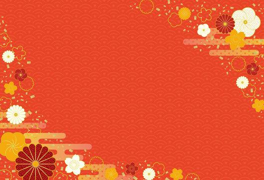和風フレーム 年賀状フレーム 和柄 菊 梅 赤 紅白