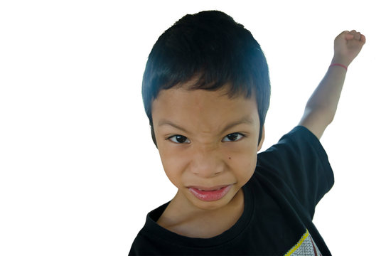 ADHD child be angry with isolated background