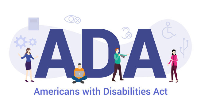 ada americans with disabilities act concept with big word or text and team people with modern flat style - vector