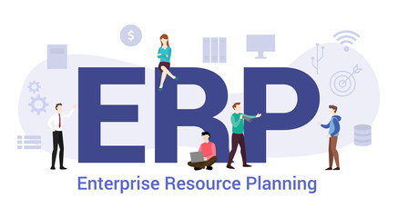 erp enterprise resource planning concept with big word or text and team people with modern flat style - vector Papier Peint