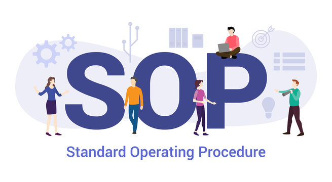 sop standard operating procedure concept with big word or text and team people with modern flat style - vector