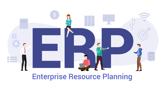 erp enterprise resource planning concept with big word or text and team people with modern flat style - vector