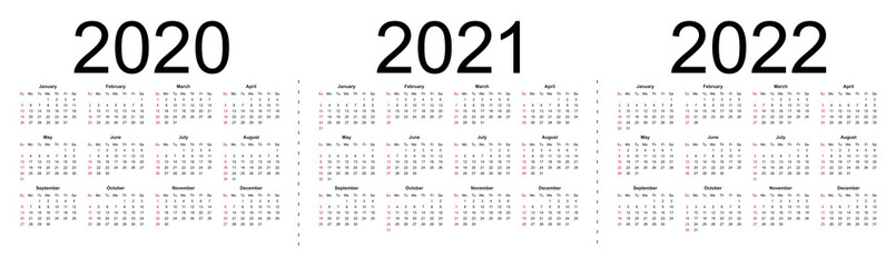 Simple editable vector calendars for year 2020 2021 2022. Week starts from Sunday. Isolated vector illustration on white background. Wall mural