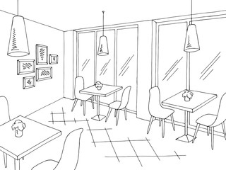 Cafe interior graphic black white sketch illustration vector
