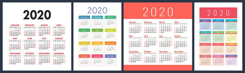 Calendar 2020 year set. Vector square and vertical calender design template. Colorful English collection. Week starts on Sunday