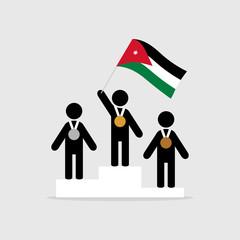 Champion with jordan flag on winner podium
