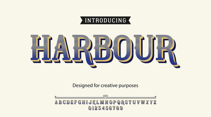 Harbour typeface.For labels and different type designs