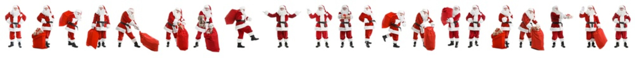 Set of authentic Santa Claus on white background. Banner design