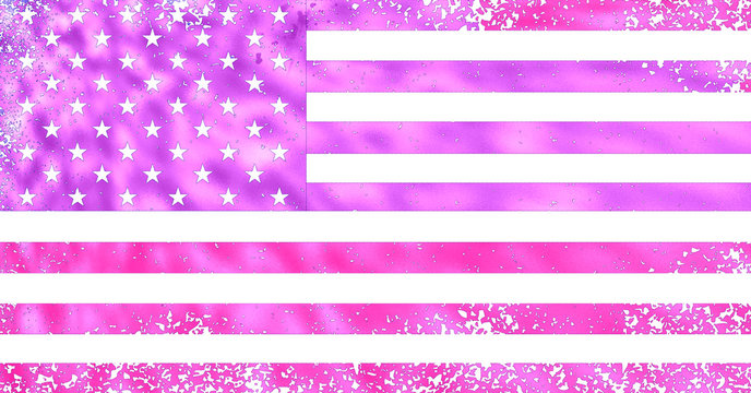Pink Stars And Stripes American Flag
