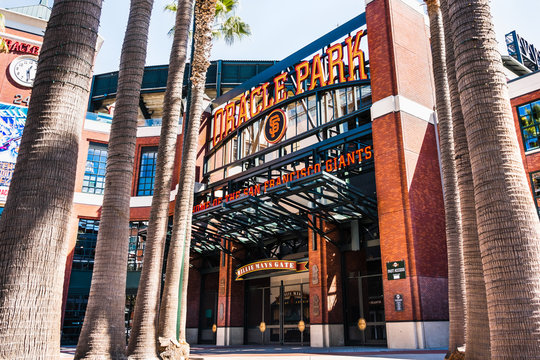 Sep 20, 2019 San Francisco / CA / USA - Oracle Park, Willie Mays Gate, home of the San Francisco Giants