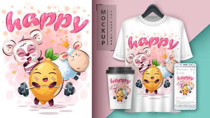 Happy animal - mockup for your idea