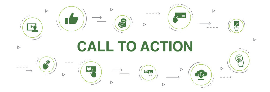 Call To Action Infographic 10 steps circle design. download, click here, subscribe, contact us icons