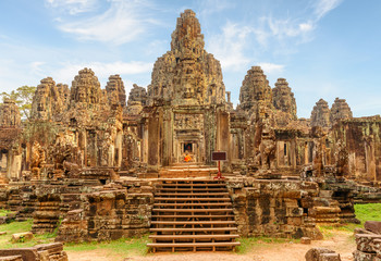 Wall Mural - Main view of Bayon temple in Angkor Thom, Siem Reap