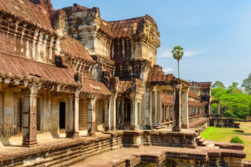 Wall Mural - Side entrances to ancient temple complex Angkor Wat, Cambodia
