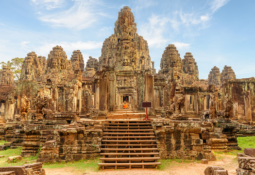 Main view of Bayon temple in Angkor Thom, Siem Reap