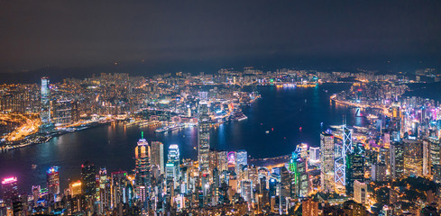 Victoria Harbour, Center of Hong Kong cityscape at night Wall mural