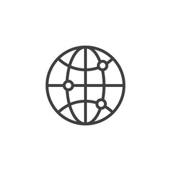 Globe grid line icon. linear style sign for mobile concept and web design. Global network connection outline vector icon. Symbol, logo illustration. Vector graphics