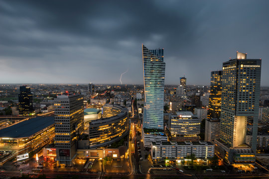 storm over the modern city center - Warsaw, Poland
