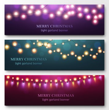 Light garland banners. Glowing light bulbs on strings, festive christmas party decor. Abstract xmas winter holidays flayers vector set