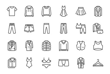 Clothes, Fashion Line Icons. Vector Illustration Included Icon as Jacket, Winter Coat, Sweatshirt, Dress, Hoody, Jeans, Hanger and other Apparel Flat Pictogram for Cloth Store. Editable Stroke