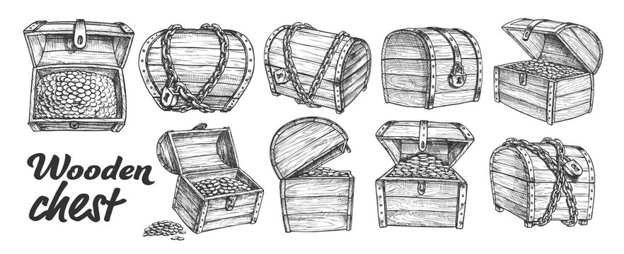 Treasure Chest Collection Monochrome Set Vector. Opened, Closed, Protected Padlock And Chain Pirate Armored Wooden Chest. Engraving Template Designed In Vintage Style Black And White Illustrations