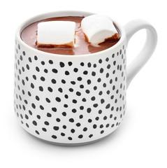 Cup of hot chocolate with marshmallows on white background