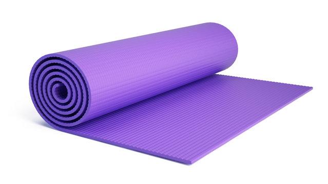 Yoga mat for fitness exercise isolated on white background. Fitness mat - 3d rendering.