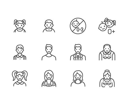 People age flat line icons set. Growth stage - baby boy, teenage girl, young woman, old man vector illustrations. Outline signs for family avatar, toy label. Pixel perfect 64x64. Editable Strokes