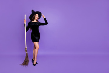 Full length body size view of her she nice-looking attractive elegant cheerful cheery lady holding in hand broom isolated over bright vivid shine vibrant blue violet purple lilac color background