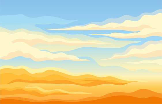 Blue sky with clouds over the yellow desert. Vector illustration.