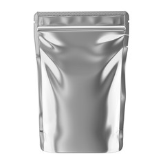 Aluminum blank foil food pack stand up pouch bag packaging with zipper mock up, 3d illustration