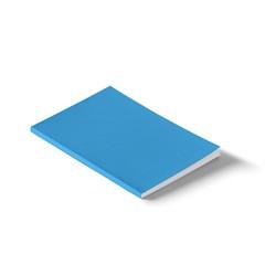 Blank blue hard cover book mock up on white background, 3d illustration