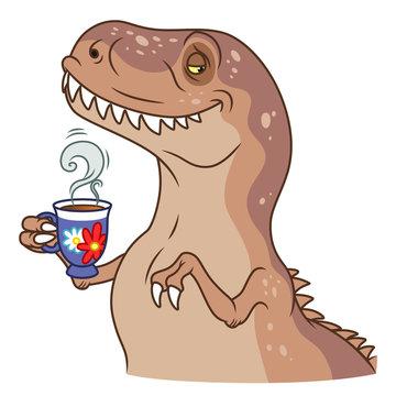 Sir tyrannosaurus with tea