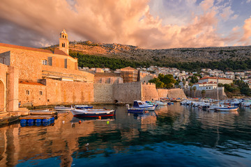 Old port Dubrovnik and Revelin Fortress. Croatia.