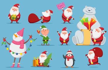 Santa Claus set. Christmas characters. Cute Santa, polar bear, penguin vector illustration. Penguin christmas, snowman xmas and elf
