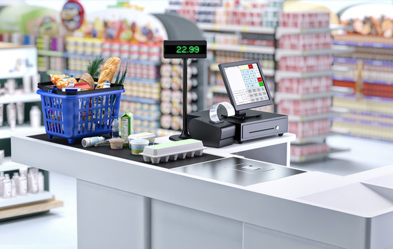 Supermarket cashier checkout work place with card payment terminal, order screen, shopping market basket with assorted grocery products, fresh food, drinks. Budget planning, money saving, economy. 3D