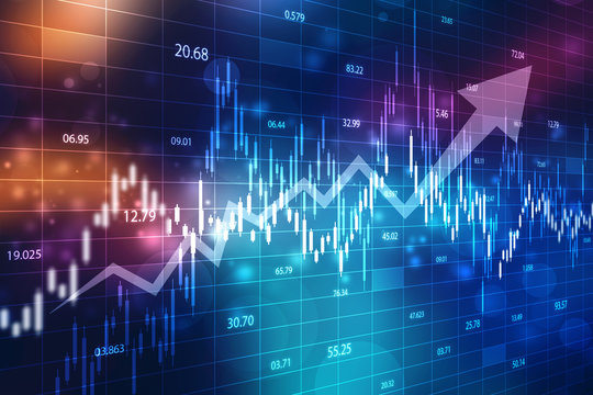 Creative blue Forex chart wallpaper with grid. Invest and finance concept, Stock market chart. Business graph background, Financial Background