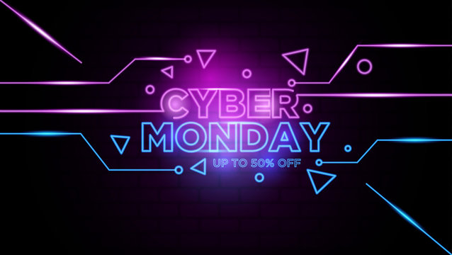 Cyber monday neon sign Background