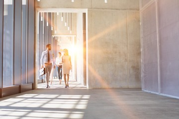 Business people walking in office hall with yellow lens flare in background