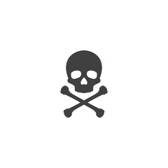 Skull and crossbones icon in black color on a white background
