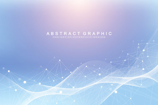 Geometric abstract background with connected line and dots. Network and connection background for your presentation. Graphic polygonal background. Wave flow. Scientific vector illustration.