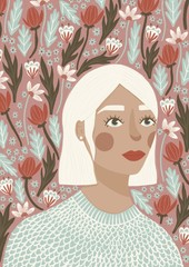 Woman with white hair on floral background