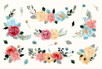 pretty flower arrangement watercolor collection