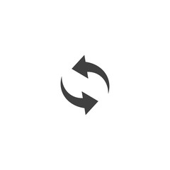 Refresh arrow icon in black color on a white background