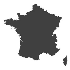 France map in black color on a white background