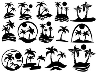 Set of islands with palm trees. The collection of silhouette of palm trees. Black and white vector illustration of a stylized tropical island. Logo for the travel agency.